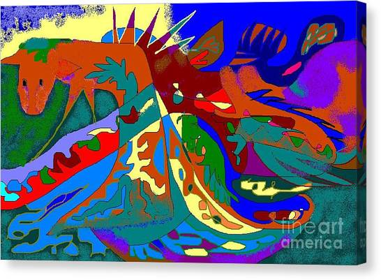 Beast In Colorful Coat Canvas Print by Beebe  Barksdale-Bruner