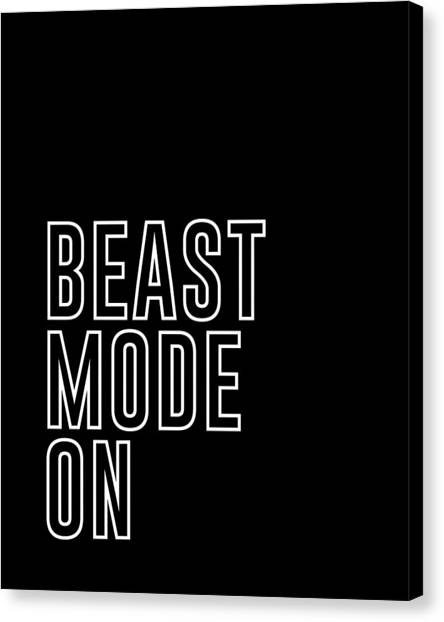 Workout Canvas Print - Beast Mode On - Gym Quotes - Minimalist Print by Studio Grafiikka