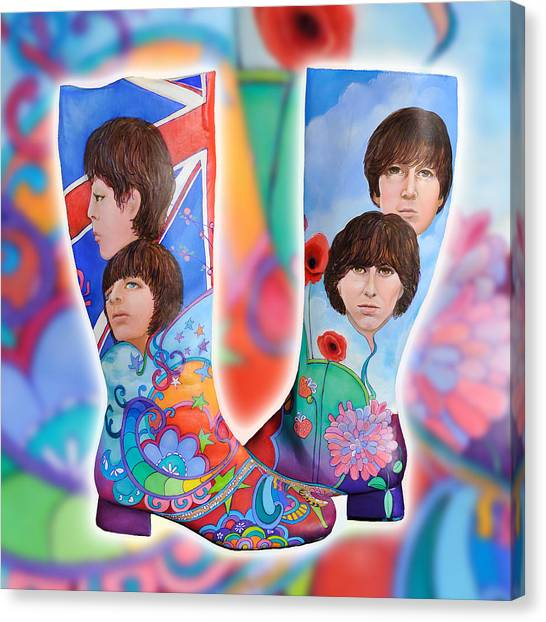 Beatle Boots Canvas Print by Mary Johnson