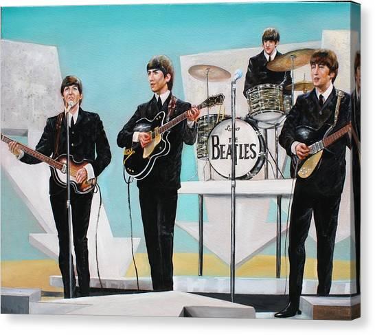 Beatles On Ed Sullivan Canvas Print by Leland Castro