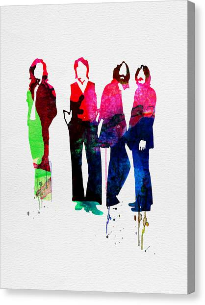 Classical Guitars Canvas Print - Beatles Watercolor by Naxart Studio
