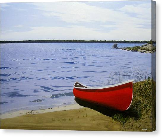 Beaultiful Red Canoe Canvas Print