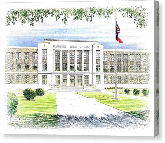 High School Canvas Print - Beaumont High School by Randy Welborn