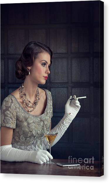 Beautiful 1930s Woman With Cocktail And Cigarette Canvas Print