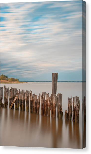 Beautiful Aging Pilings In Keyport Canvas Print