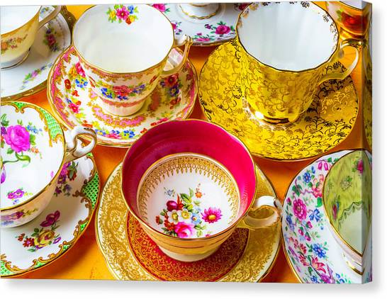 Tea Time Canvas Print - Beautiful Assortment Of Tea Cups by Garry Gay