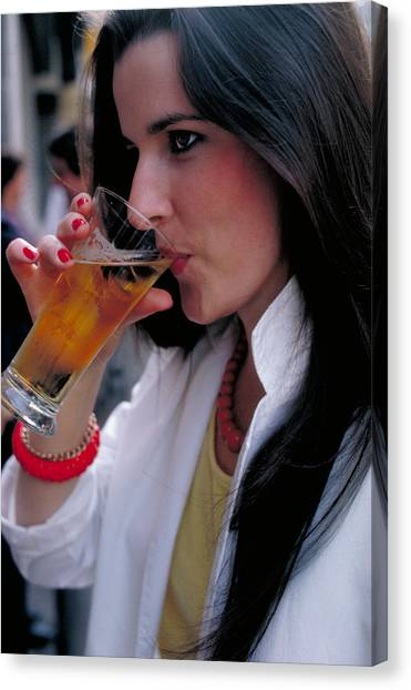 Canvas Print - Beautiful Beer Drinker by Carl Purcell