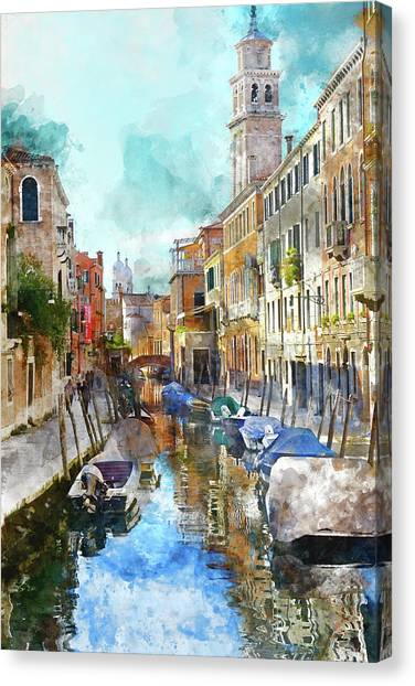 Beautiful Boats In Venice, Italy Canvas Print
