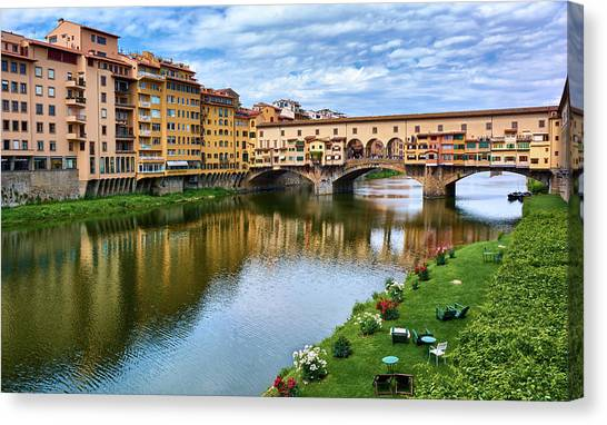 Ponte Vecchio On A Spring Day In Florence, Italy Canvas Print