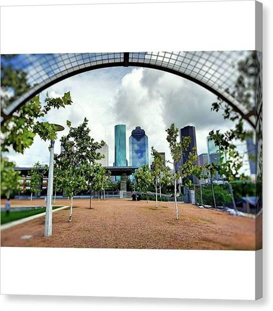 Houston Skyline Canvas Print - Beautiful Day In The Neighborhood by Roslyn Igbani