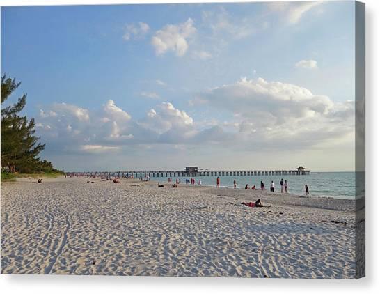 Beautiful Day On Naples Beach Naples Florida Canvas Print