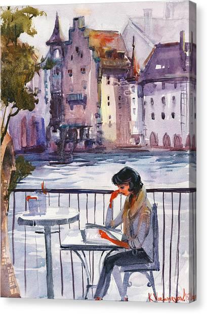 Cafe Art Canvas Print - Beautiful Day, Reading by Kristina Vardazaryan