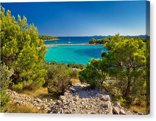 Beautiful Emerald Beach On Murter Island Canvas Print