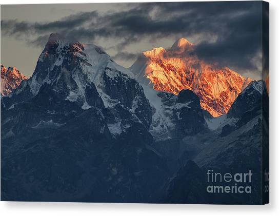 Kangchenjunga Canvas Print - Beautiful First Light From Sunrise On Mount Kanchenjugha, Himalaya, Sikkim, India. by Rudra Narayan Mitra