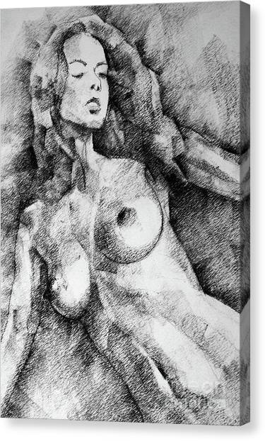 Beautiful Girl Close Up Standing Pose Art Drawing Canvas Print