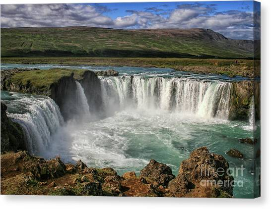 Beautiful Godafoss Waterfall In Iceland Canvas Print