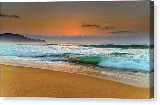 Beautiful Hazy Sunrise Seascape  Canvas Print