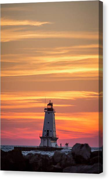 Marquette University Canvas Print - Beautiful Ludington Lighthouse Sunset by Adam Romanowicz