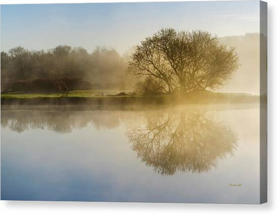 Foggy Forests Canvas Print - Beautiful Misty River Sunrise by Christina Rollo