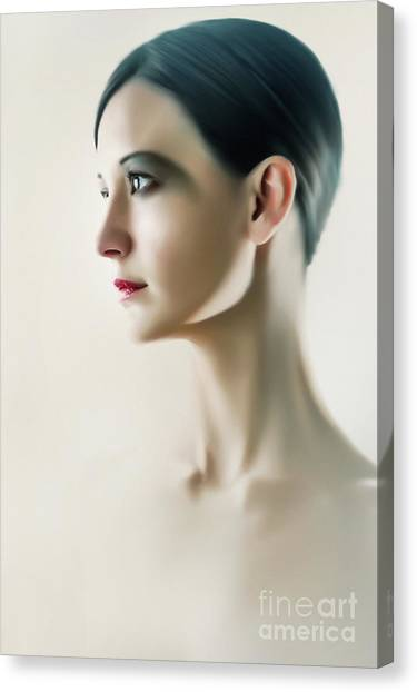 Canvas Print featuring the photograph Beautiful Model Highkey Fashion Studio Portrait by Dimitar Hristov