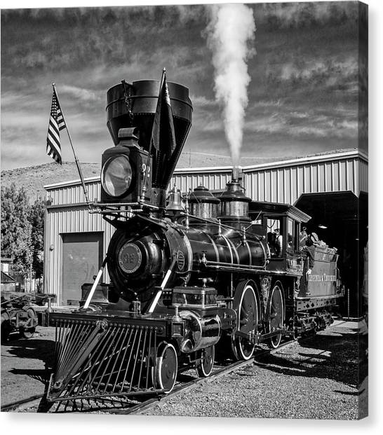 Steam Trains Canvas Print - Beautiful Number 22 In Black And White by Garry Gay
