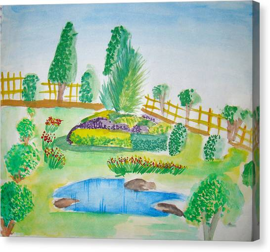 Beautiful Park Canvas Print by Tanmay Singh