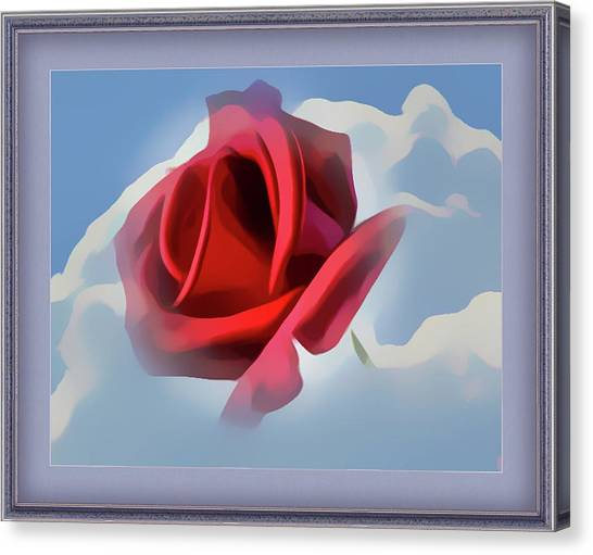 Beautiful Red Rose Cuddled By Cumulus Canvas Print