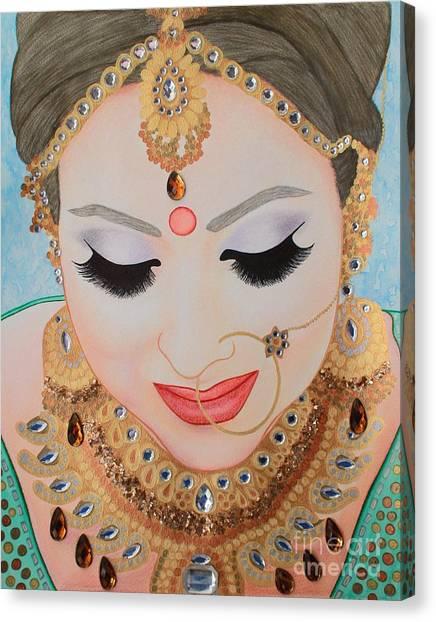 Sikh Art Canvas Print - Beautiful Sikh Bride by Malinda Prudhomme
