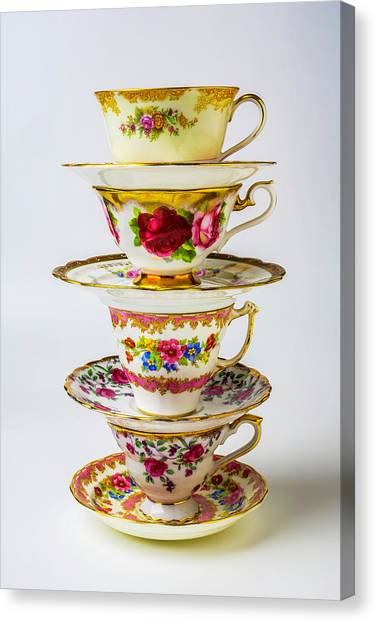 Saucer Canvas Print - Beautiful Stacked Tea Cups by Garry Gay