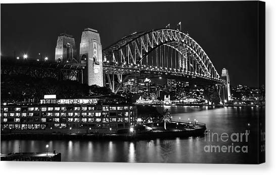 Beautiful Sydney Harbour In Black And White Canvas Print