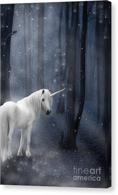 Fantasy Canvas Print - Beautiful Unicorn In Snowy Forest by Ethiriel  Photography