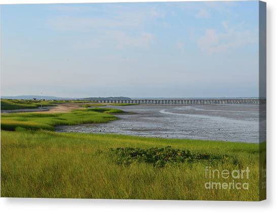 Beautiful Views Of Powder Point Bridge And Duxbury Bay Canvas Print