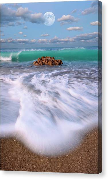 Beautiful Waves Under Full Moon At Coral Cove Beach In Jupiter, Florida Canvas Print