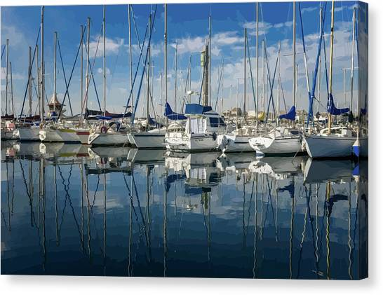 Beautiful Yachts Moored In The Marina Canvas Print