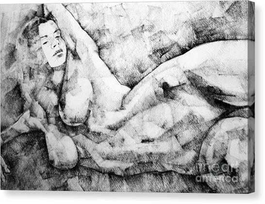 Beautiful Young Girl Pencil Art Drawing Canvas Print