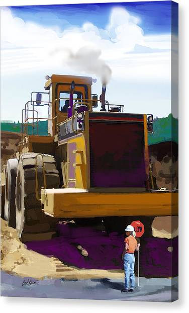 Bulldozers Canvas Print - Beauty And The Beast by Brad Burns