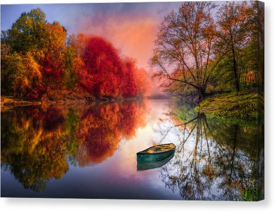 Foggy Forests Canvas Print - Beauty At The Lake by Debra and Dave Vanderlaan