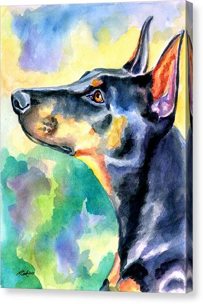 Doberman Pinschers Canvas Print - Beauty by Lyn Cook