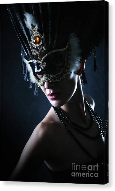 Canvas Print featuring the photograph Beauty Model Wearing Venetian Masquerade Carnival Mask by Dimitar Hristov