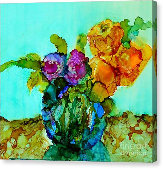 Canvas Print featuring the painting Beauty Of Flowers by Priti Lathia