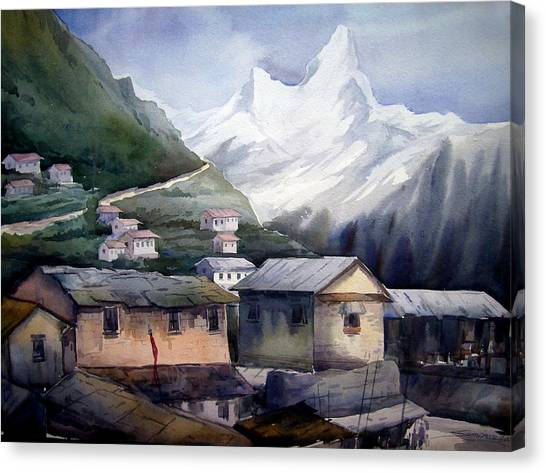 Beauty Of Himalayan Village Canvas Print