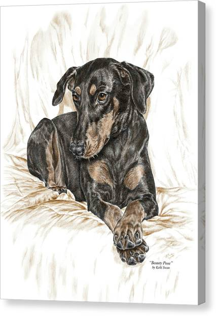 Doberman Pinschers Canvas Print - Beauty Pose - Doberman Pinscher Dog With Natural Ears by Kelli Swan