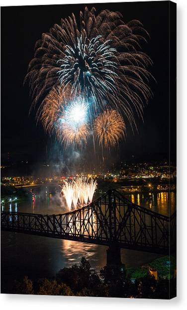 Ohio Valley Canvas Print - Beaver County Fireworks 2 by Emmanuel Panagiotakis