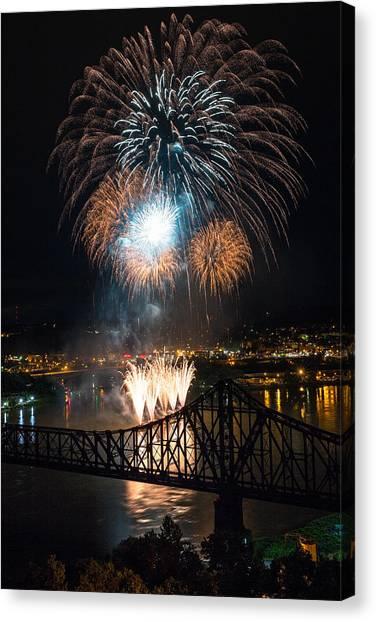 Ohio Valley Canvas Print - Beaver County Fireworks 2 by Emmanuel Panagiotakis