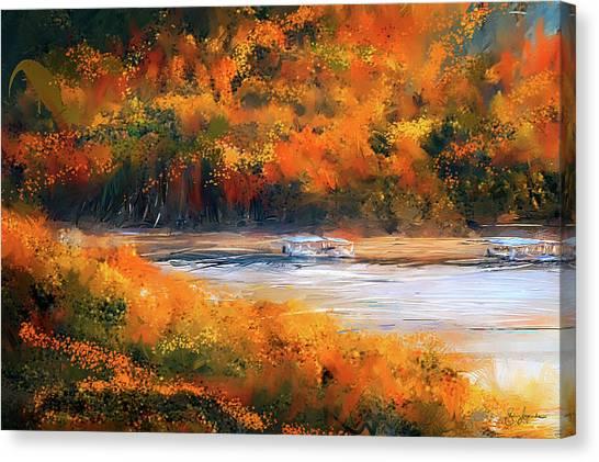 Beavers Canvas Print - Beaver Lake Impressionist - Beaver Lake Art by Lourry Legarde