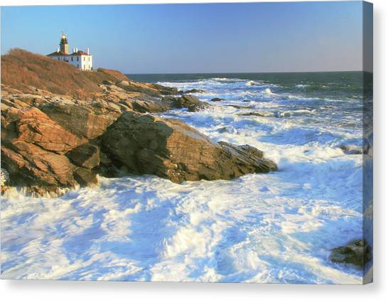 Beavertail Point And Lighthouse  Canvas Print
