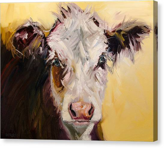 Bed Head Cow Canvas Print
