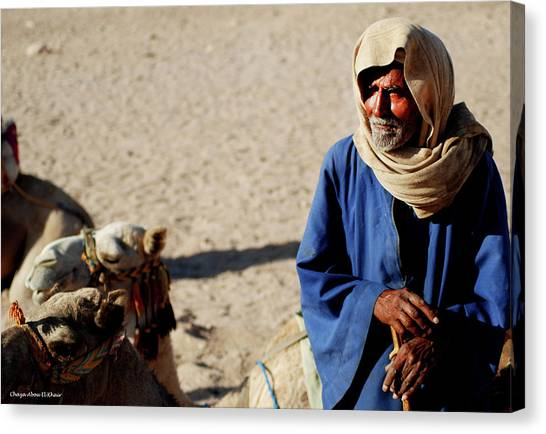 Bedouin Man In Blue Canvas Print by Chaza Abou El Khair