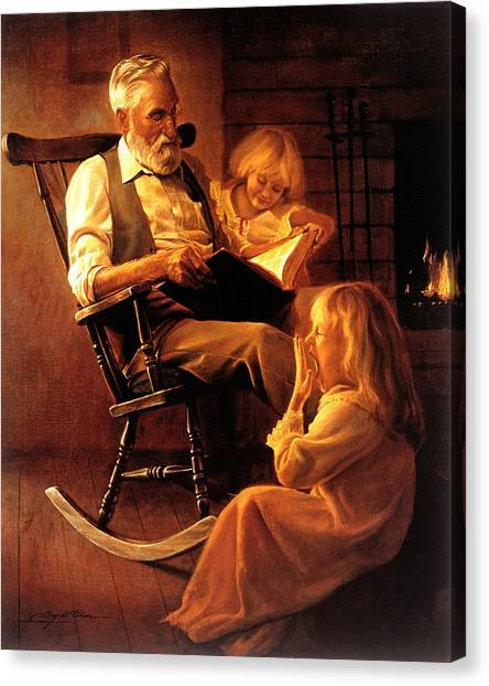 Grandpa Canvas Print - Bedtime Stories by Greg Olsen