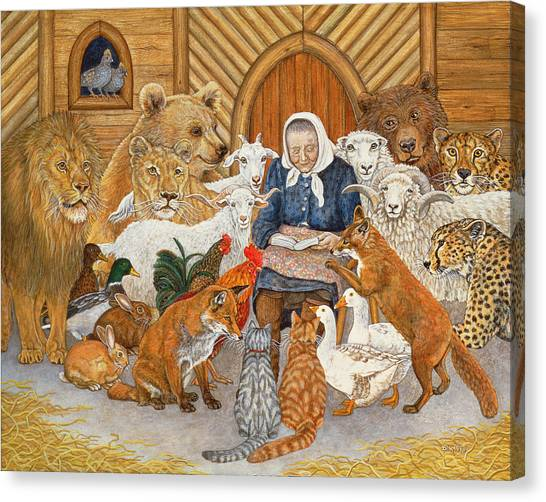 Noah Canvas Print - Bedtime Story On The Ark by Ditz